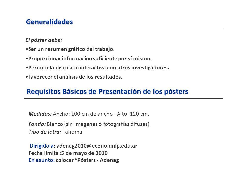 Requisitos Básicos de Presentación de los pósters