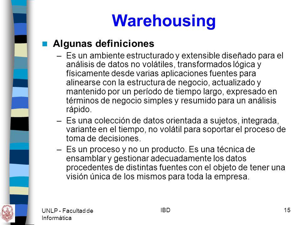Warehousing Algunas definiciones