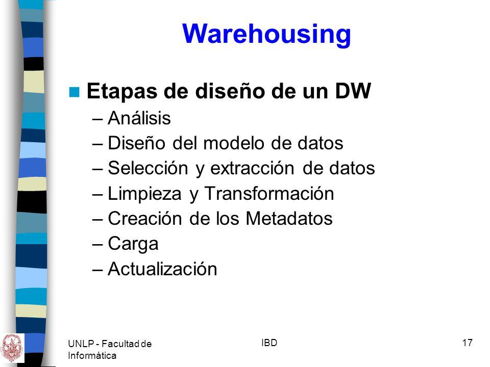 Warehousing Etapas de diseño de un DW Análisis
