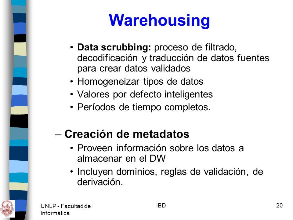 Warehousing Creación de metadatos