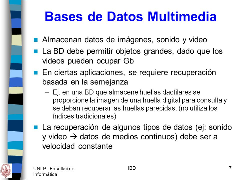 Bases de Datos Multimedia
