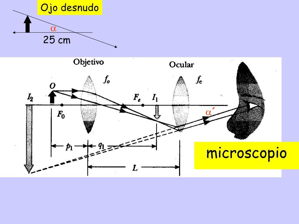 microscopio Ojo desnudo  25 cm ´ cuación aumentos TRANS. LONG.