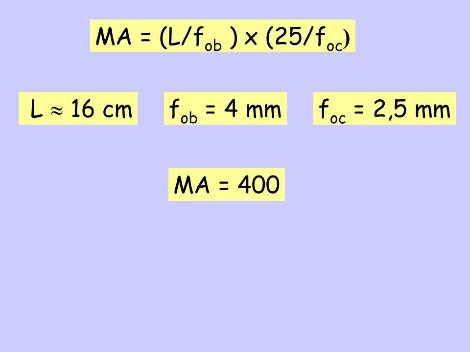 MA = (L/fob ) x (25/foc) L  16 cm fob = 4 mm foc = 2,5 mm MA = 400