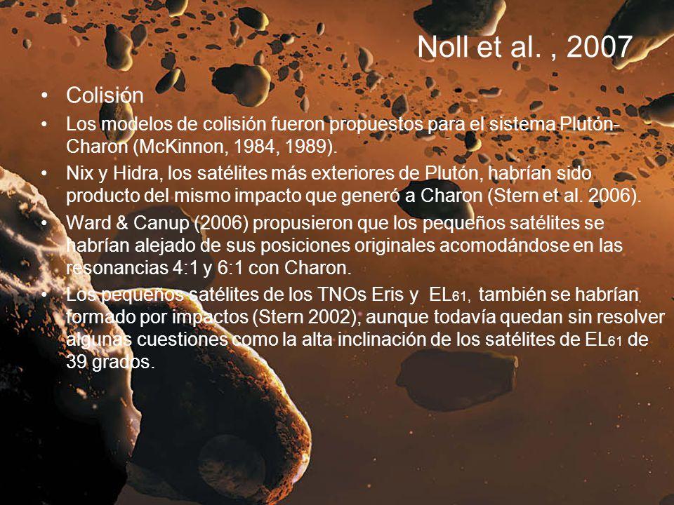 Noll et al. , 2007 Colisión. Los modelos de colisión fueron propuestos para el sistema Plutón-Charon (McKinnon, 1984, 1989).