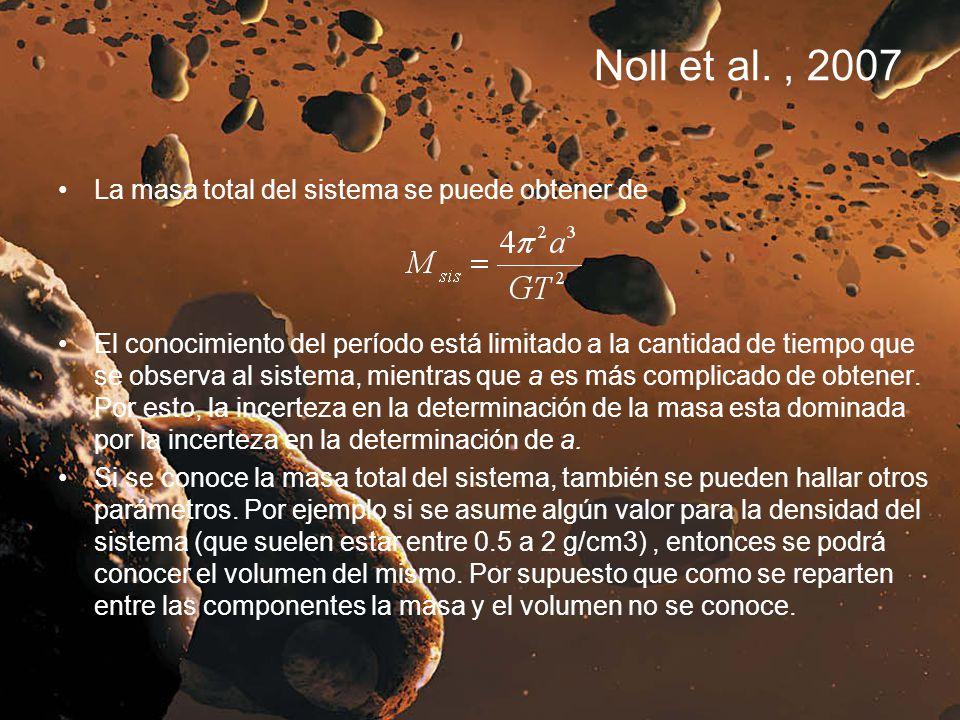 Noll et al. , 2007 La masa total del sistema se puede obtener de
