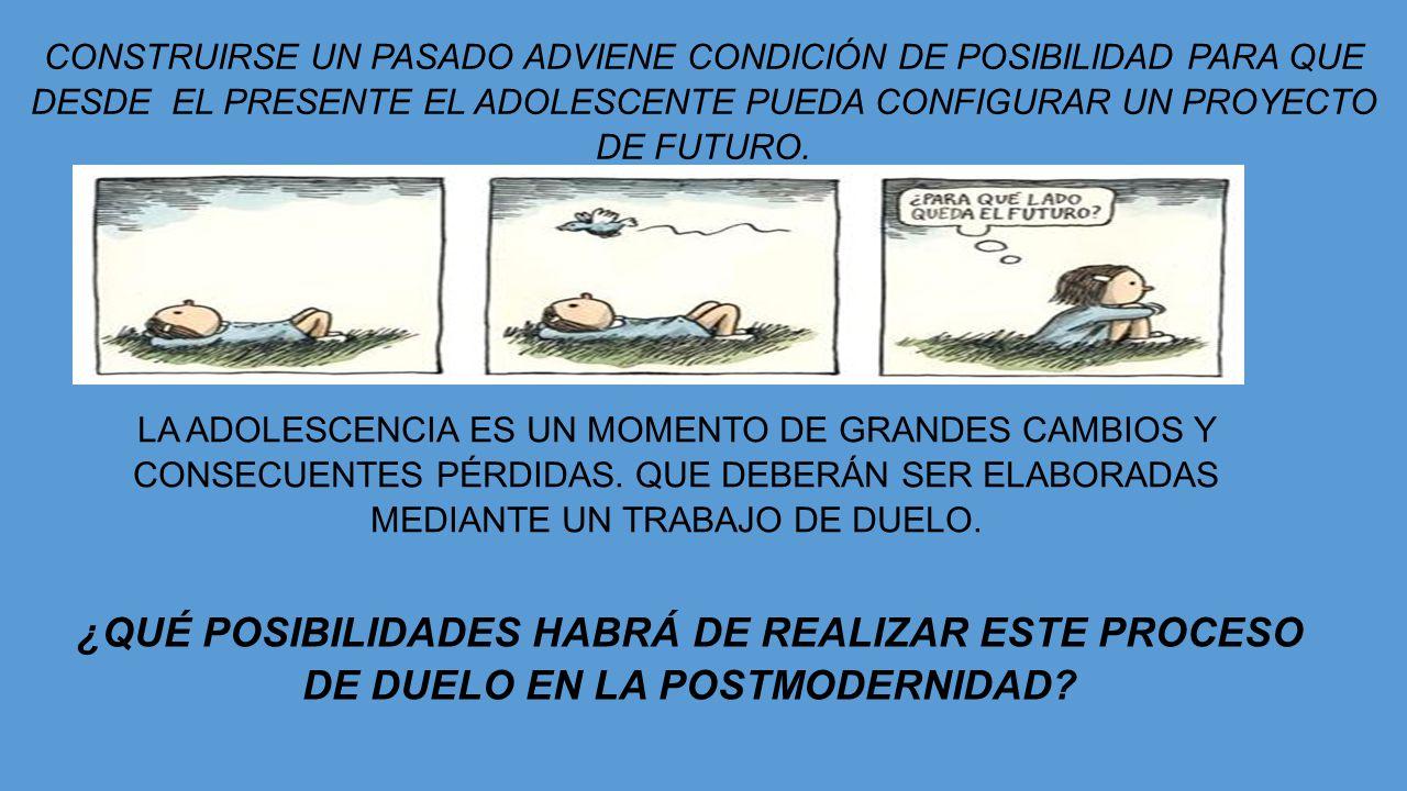 CONSTRUIRSE UN PASADO ADVIENE CONDICIÓN DE POSIBILIDAD PARA QUE DESDE EL PRESENTE EL ADOLESCENTE PUEDA CONFIGURAR UN PROYECTO DE FUTURO.