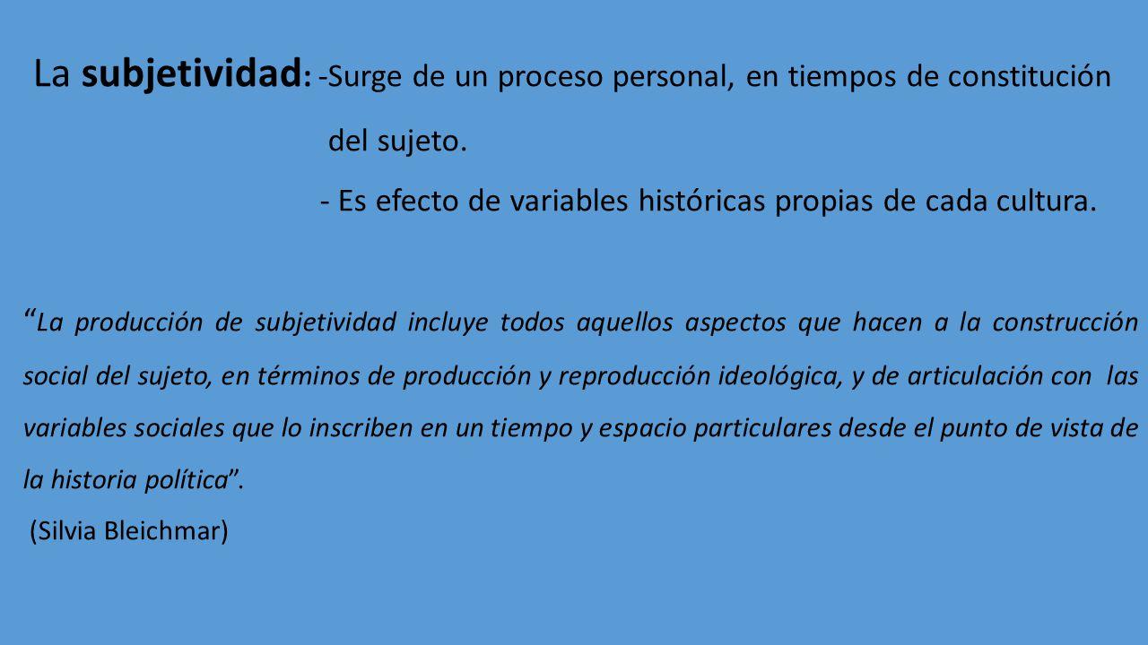 La subjetividad: -Surge de un proceso personal, en tiempos de constitución