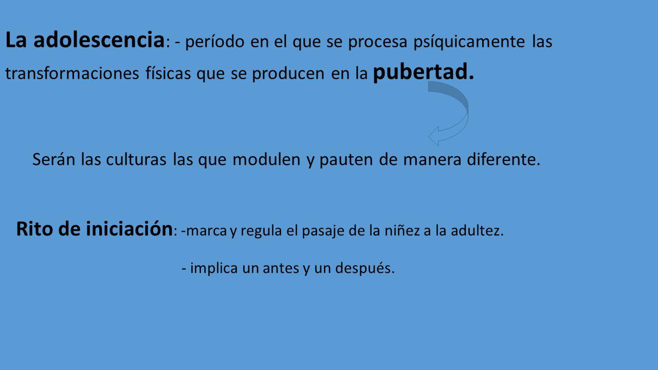 La adolescencia: - período en el que se procesa psíquicamente las transformaciones físicas que se producen en la pubertad.