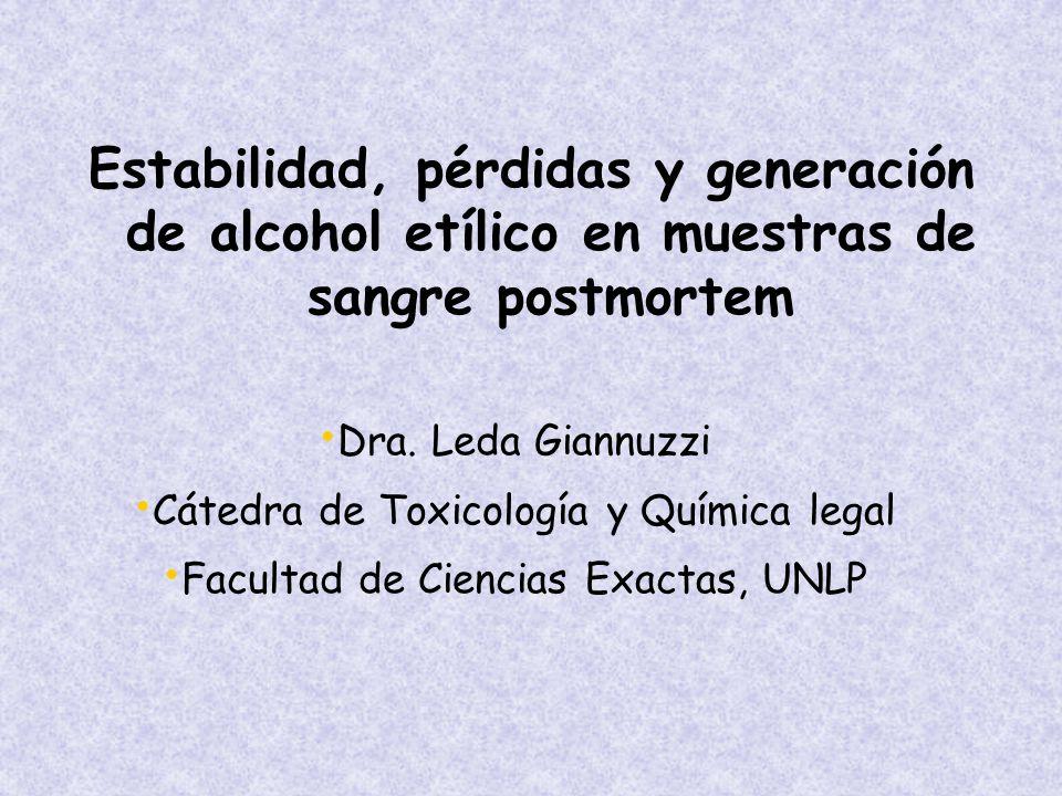 Estabilidad, pérdidas y generación de alcohol etílico en muestras de sangre postmortem
