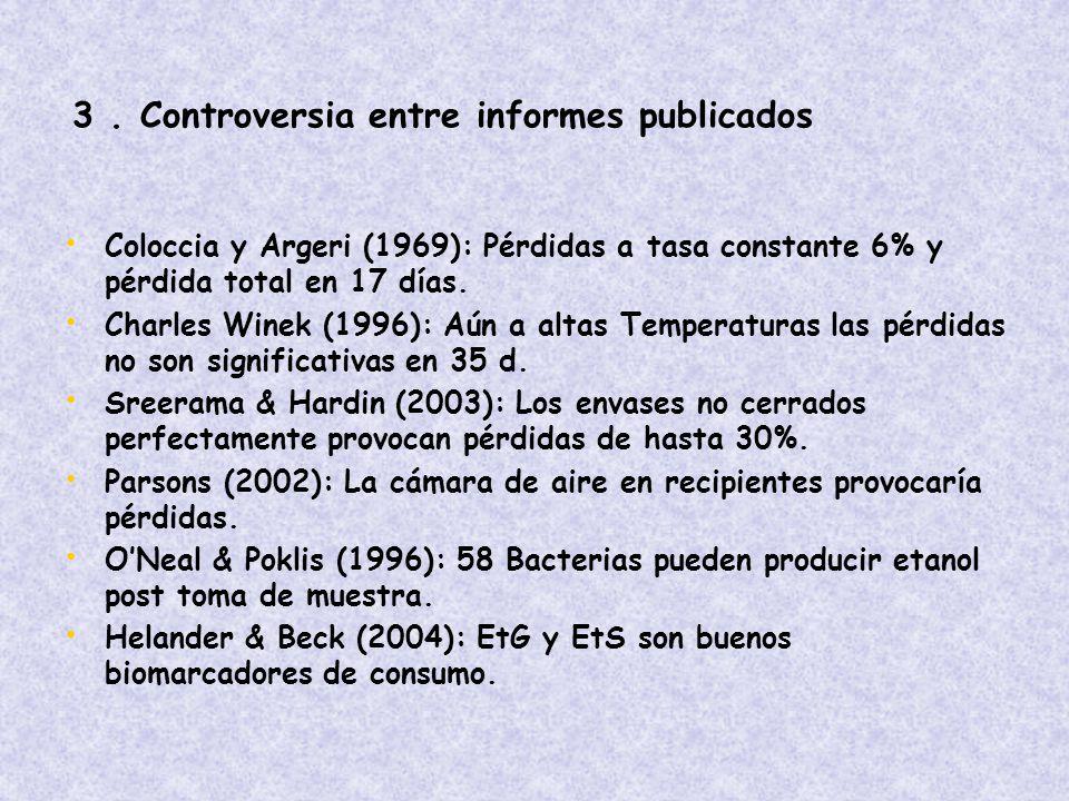 3 . Controversia entre informes publicados