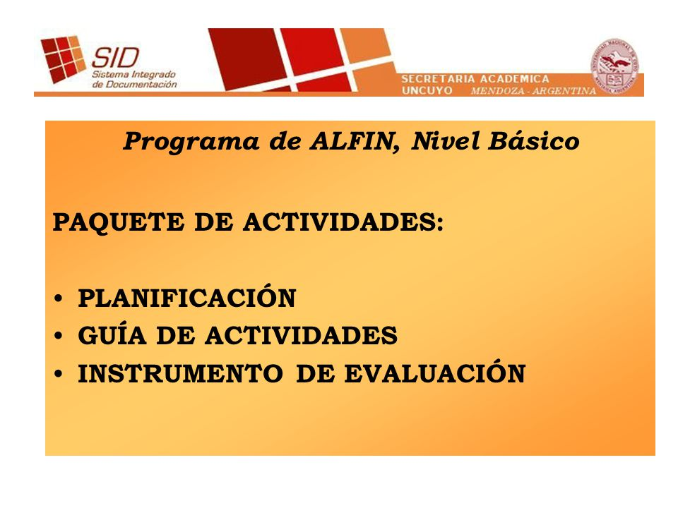 Programa de ALFIN, Nivel Básico
