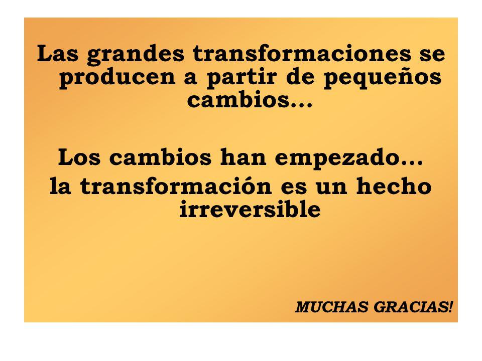 Las grandes transformaciones se producen a partir de pequeños cambios…