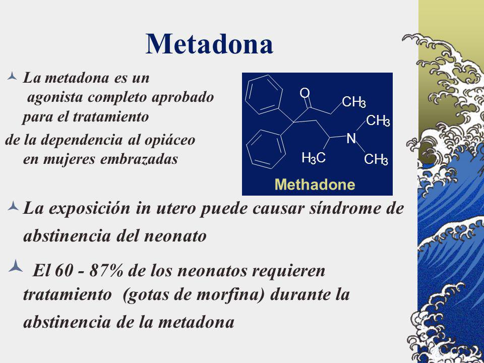 Metadona La metadona es un agonista completo aprobado para el tratamiento. de la dependencia al opiáceo en mujeres embrazadas.