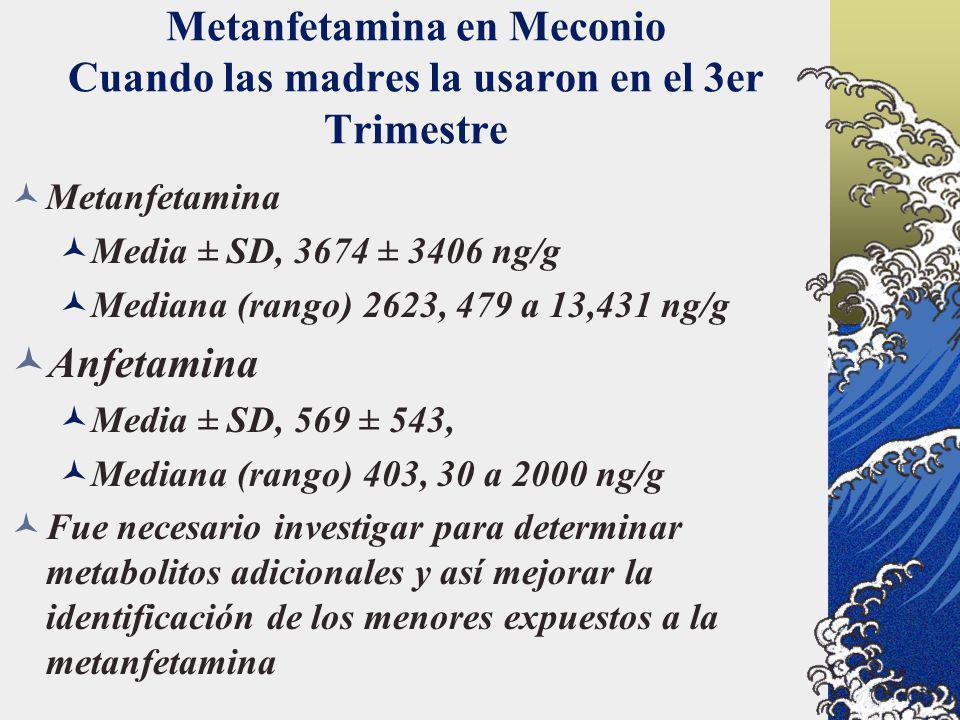 Metanfetamina en Meconio Cuando las madres la usaron en el 3er Trimestre