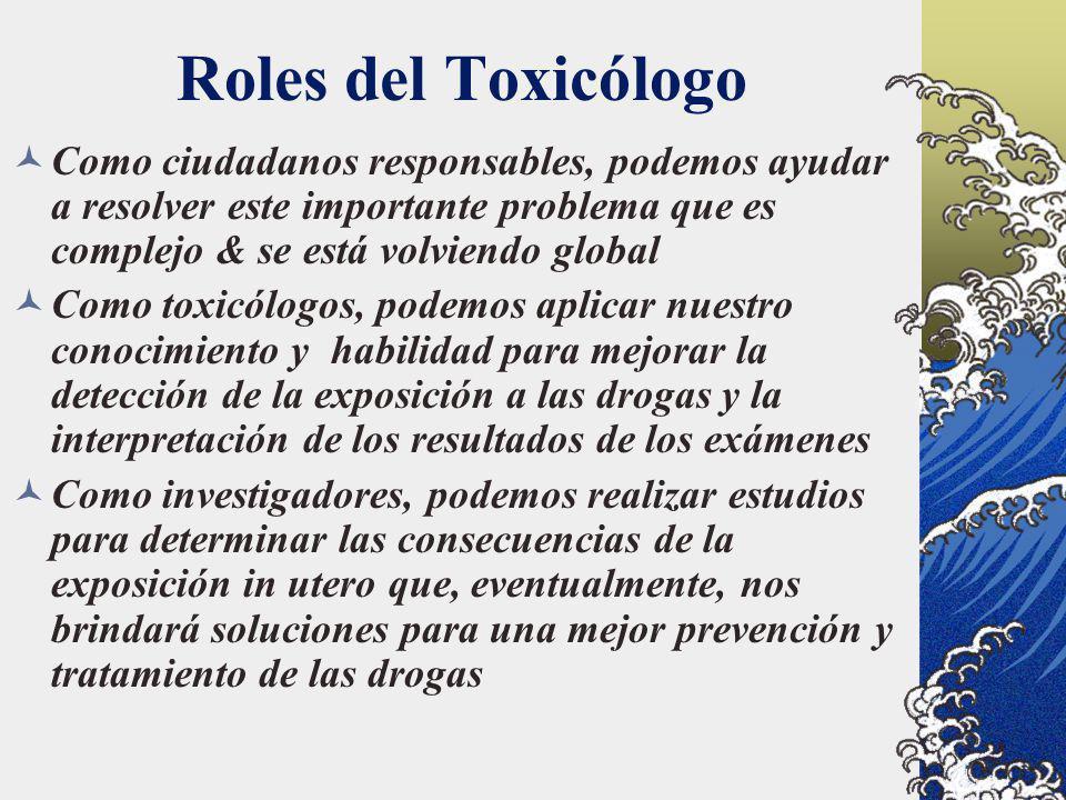 Roles del Toxicólogo Como ciudadanos responsables, podemos ayudar a resolver este importante problema que es complejo & se está volviendo global.