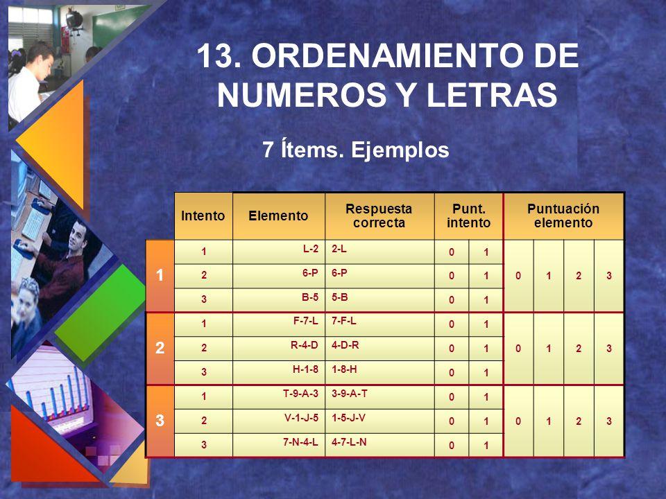 13. ORDENAMIENTO DE NUMEROS Y LETRAS