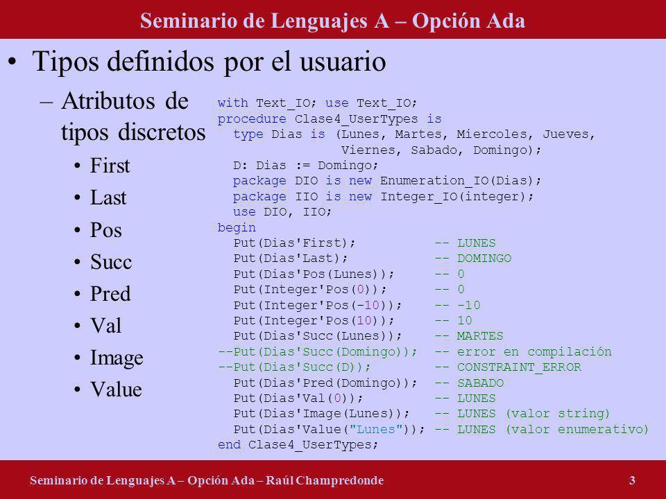 Seminario de Lenguajes A – Opción Ada