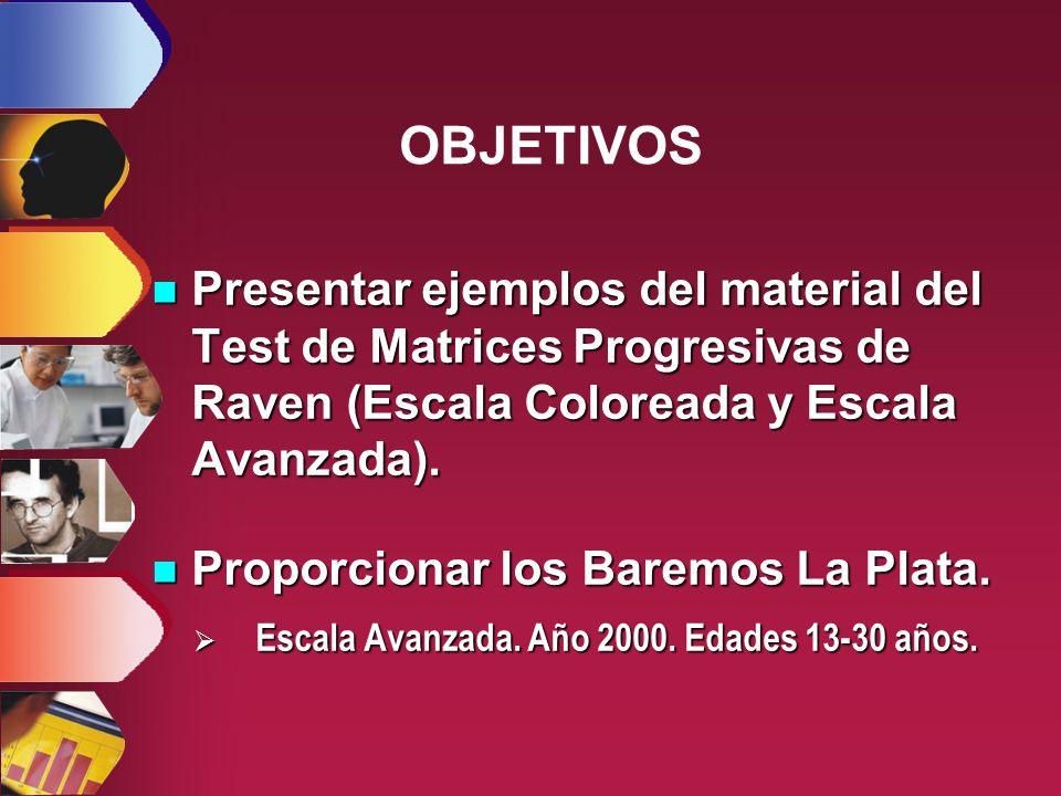 OBJETIVOS Presentar ejemplos del material del Test de Matrices Progresivas de Raven (Escala Coloreada y Escala Avanzada).