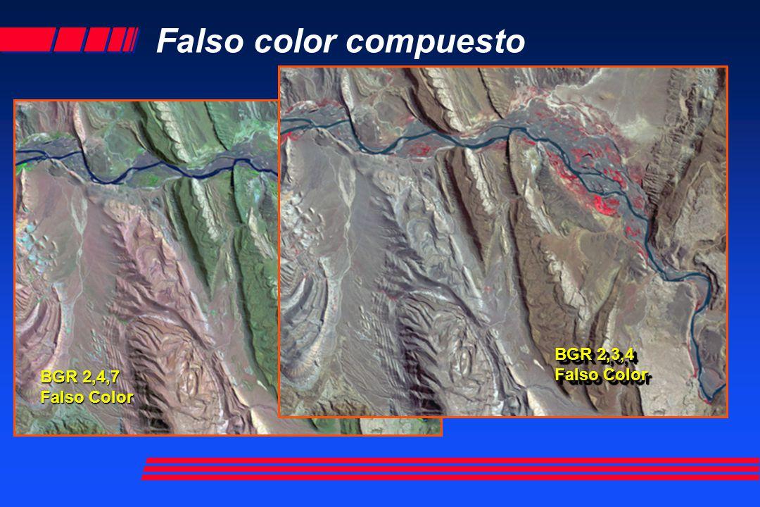 Falso color compuesto BGR 2,3,4 Falso Color BGR 2,4,7 Falso Color