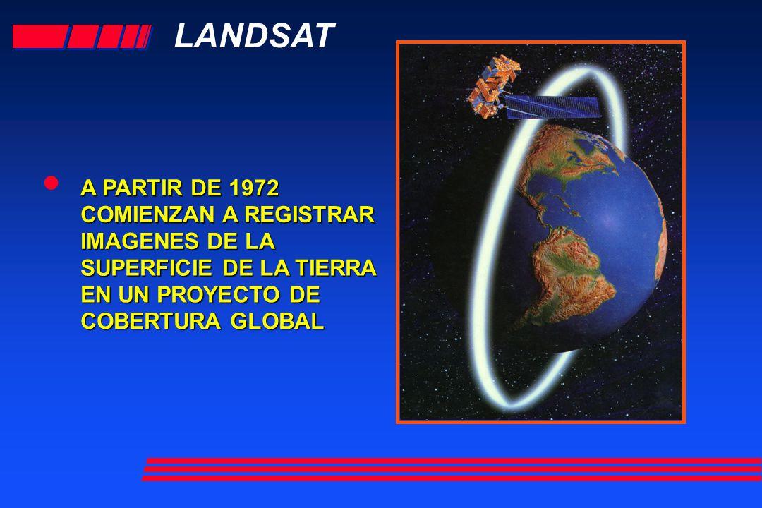 • LANDSAT A PARTIR DE 1972 COMIENZAN A REGISTRAR IMAGENES DE LA