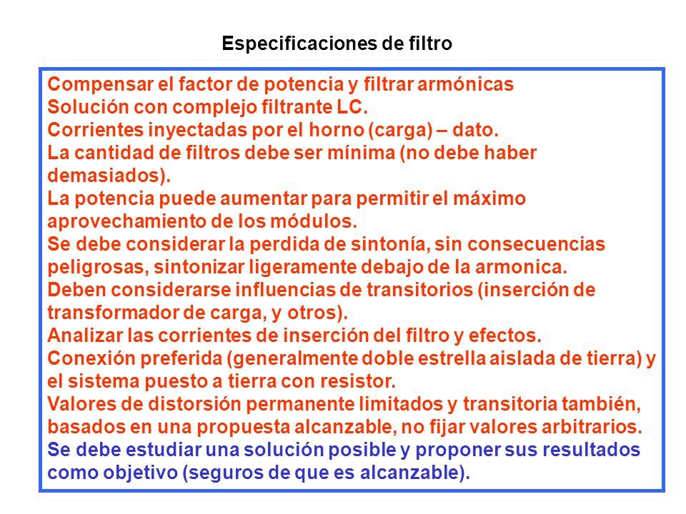 Especificaciones de filtro