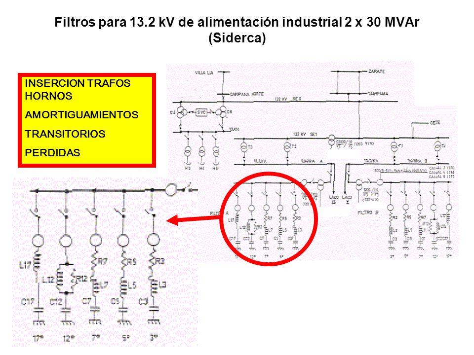 Filtros para 13.2 kV de alimentación industrial 2 x 30 MVAr (Siderca)