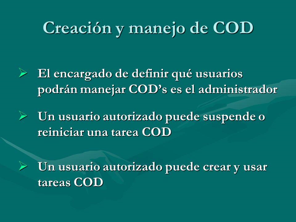 Creación y manejo de COD