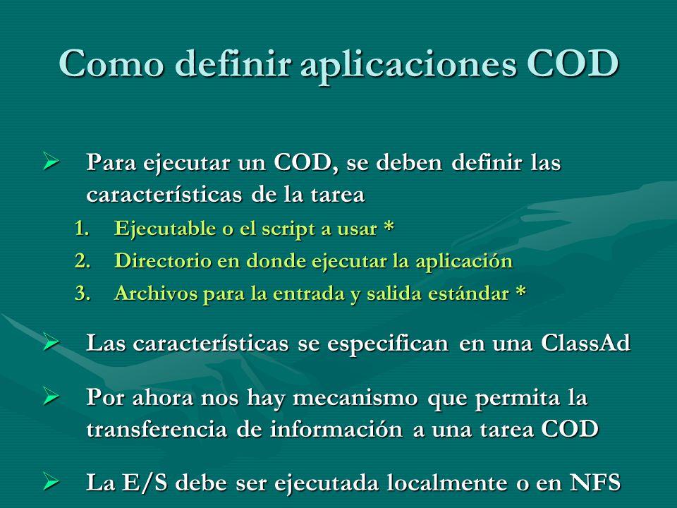 Como definir aplicaciones COD