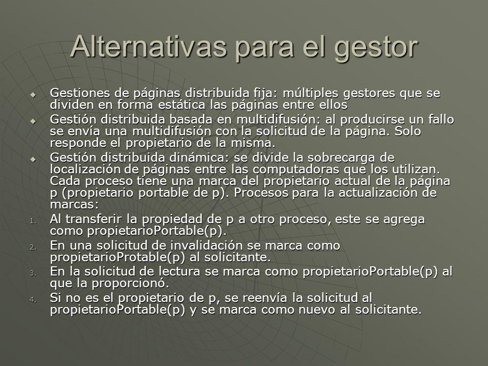 Alternativas para el gestor