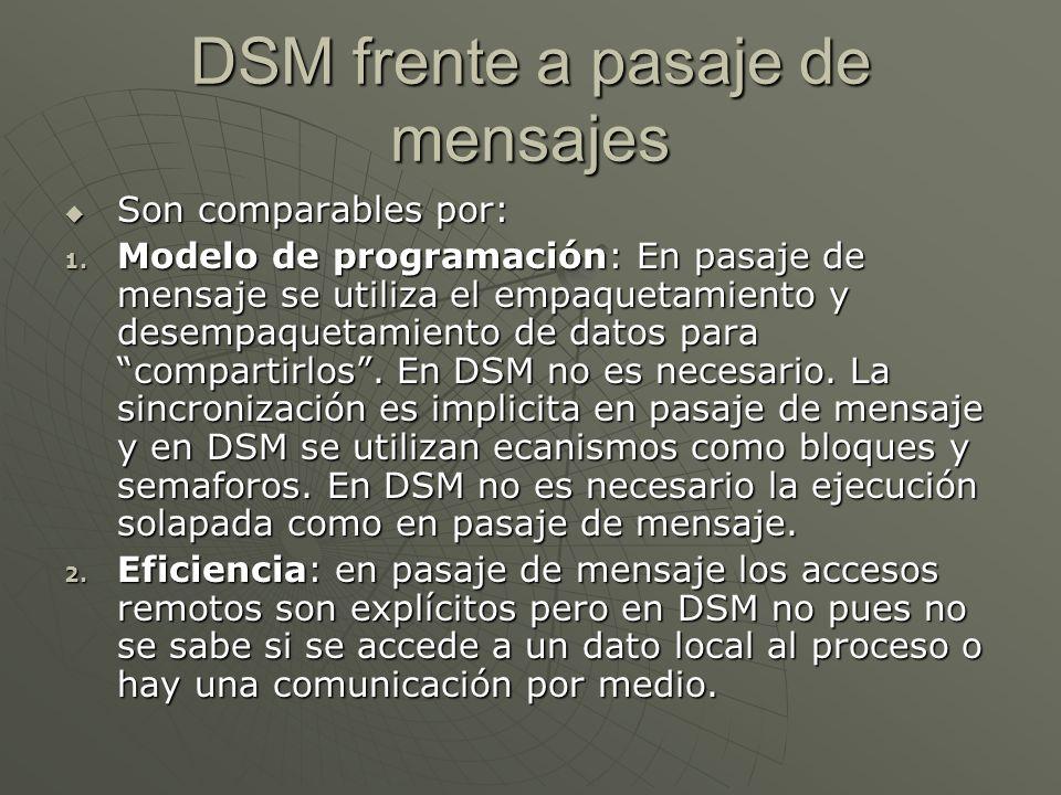 DSM frente a pasaje de mensajes