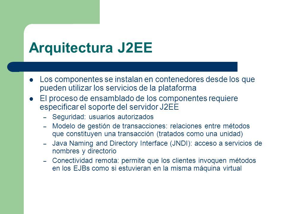 Arquitectura J2EE Los componentes se instalan en contenedores desde los que pueden utilizar los servicios de la plataforma.