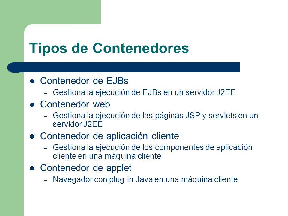 Tipos de Contenedores Contenedor de EJBs Contenedor web