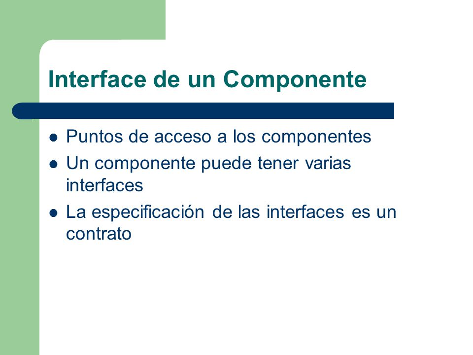 Interface de un Componente