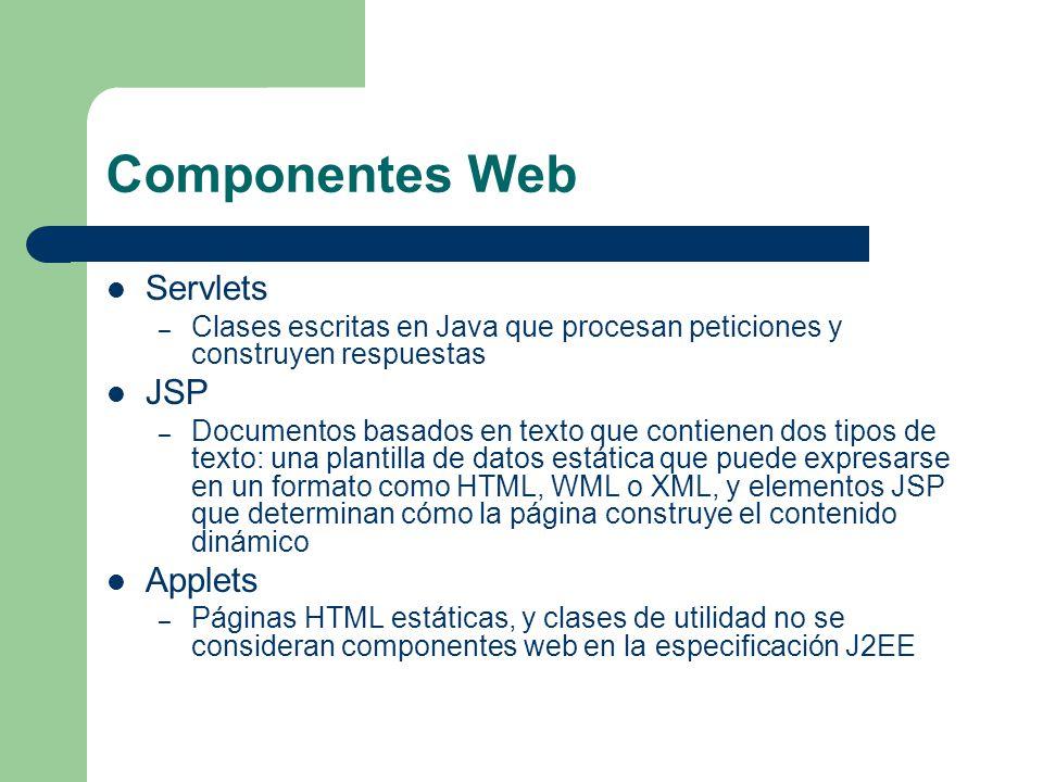 Componentes Web Servlets JSP Applets