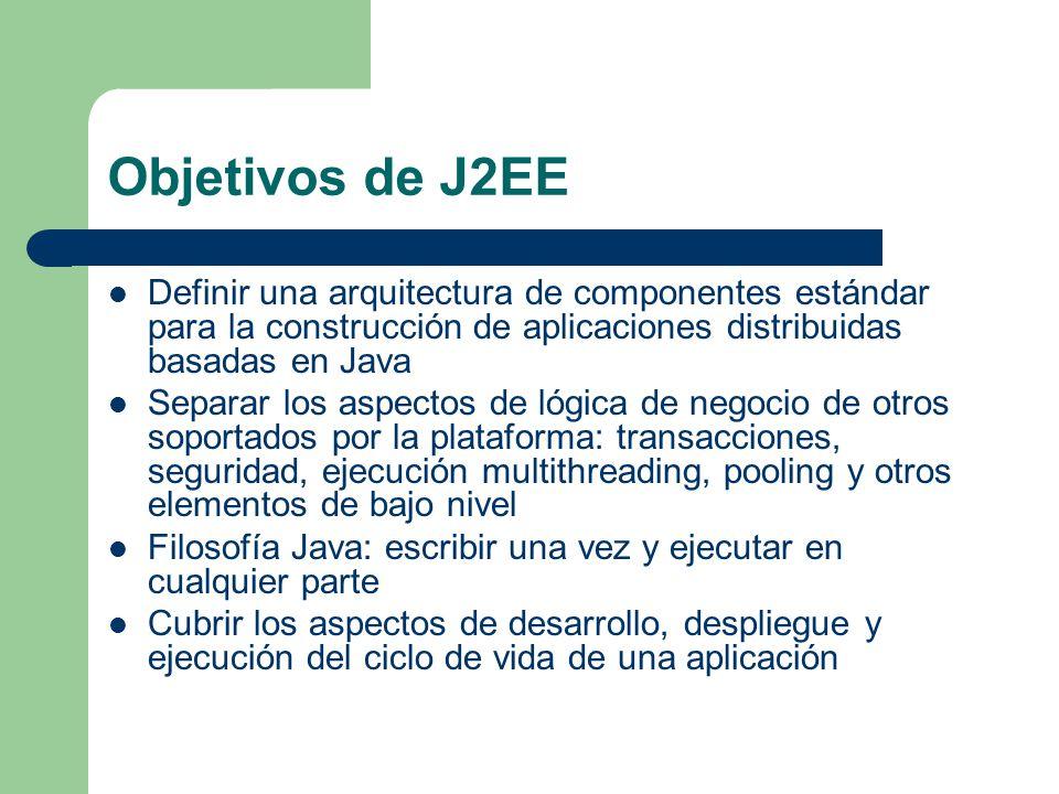 Objetivos de J2EE Definir una arquitectura de componentes estándar para la construcción de aplicaciones distribuidas basadas en Java.