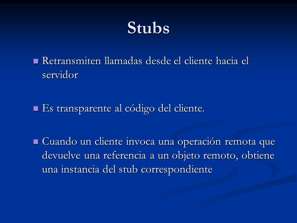 Stubs Retransmiten llamadas desde el cliente hacia el servidor