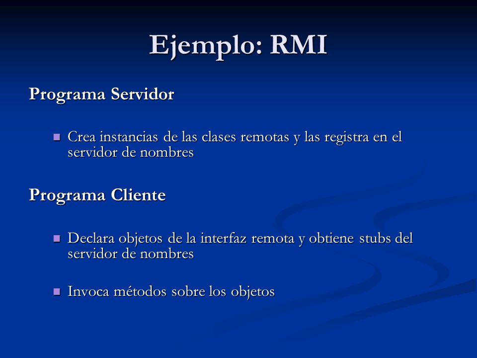 Ejemplo: RMI Programa Servidor Programa Cliente