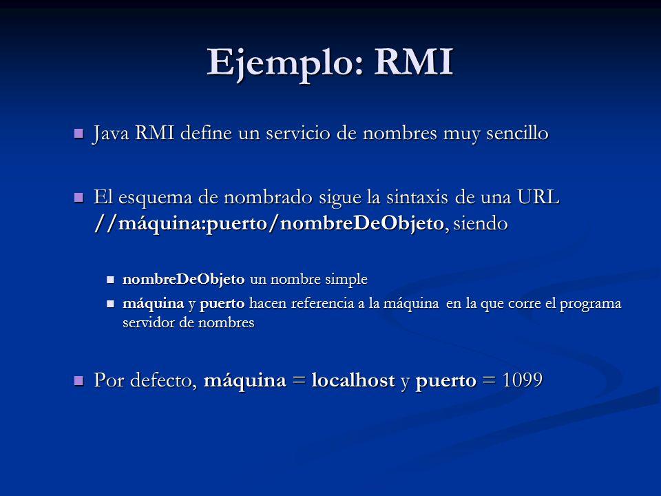 Ejemplo: RMI Java RMI define un servicio de nombres muy sencillo
