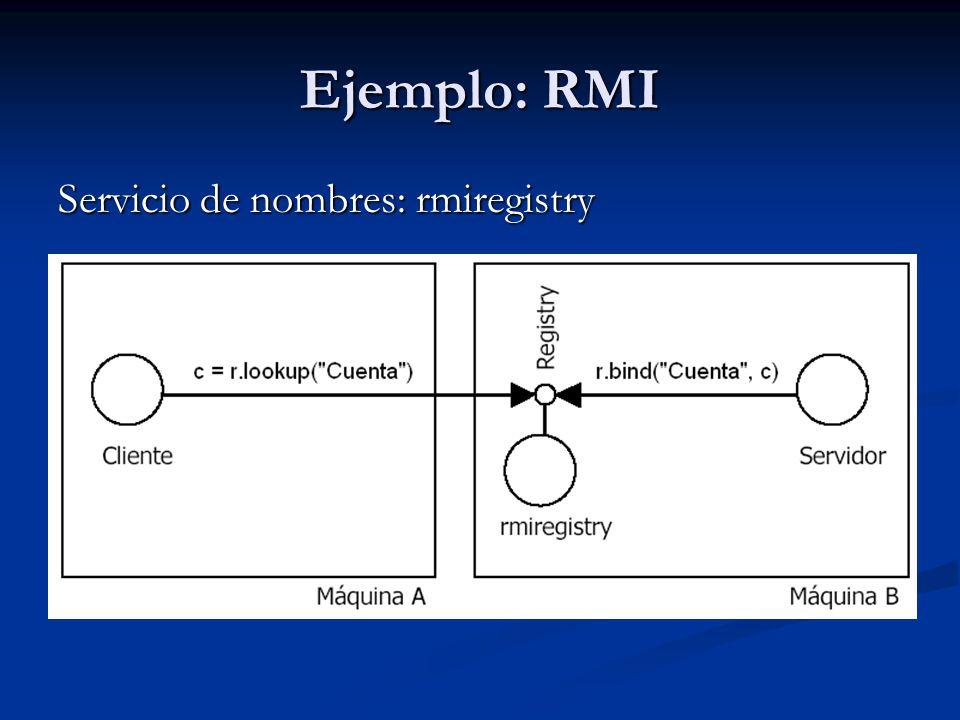 Ejemplo: RMI Servicio de nombres: rmiregistry