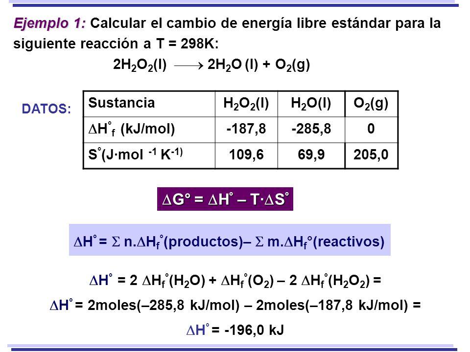 Ejemplo 1: Calcular el cambio de energía libre estándar para la siguiente reacción a T = 298K: 2H2O2(l)  2H2O (l) + O2(g)