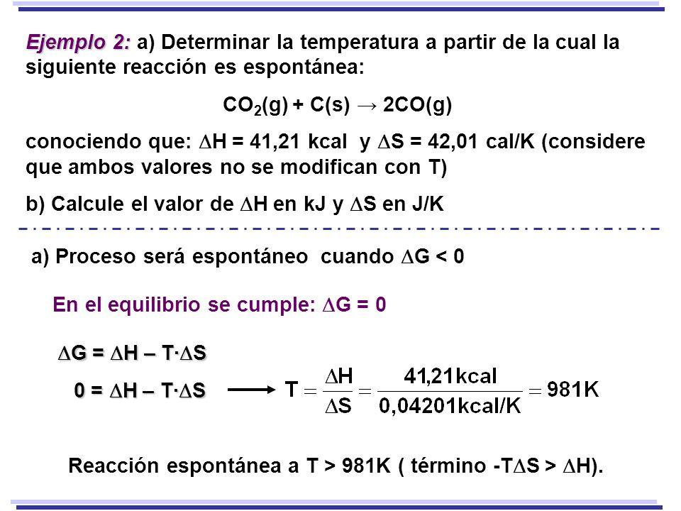 Ejemplo 2: a) Determinar la temperatura a partir de la cual la siguiente reacción es espontánea: