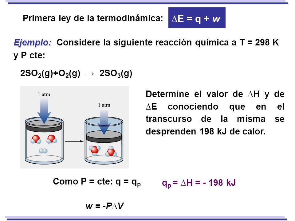 ∆E = q + w Primera ley de la termodinámica: