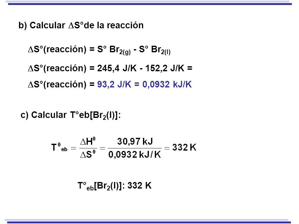 b) Calcular S°de la reacción