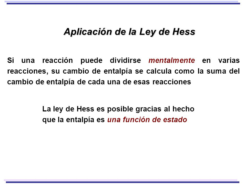 Aplicación de la Ley de Hess
