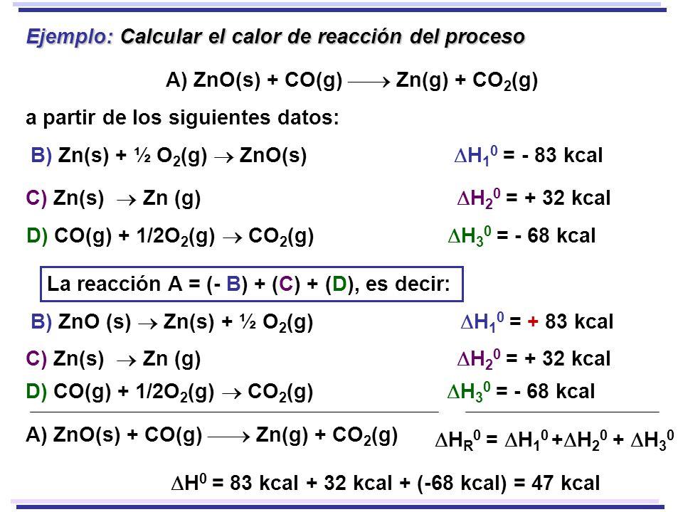 Ejemplo: Calcular el calor de reacción del proceso