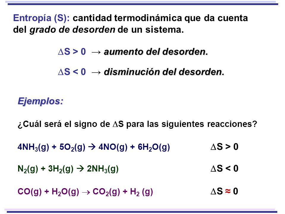 DS > 0 → aumento del desorden.