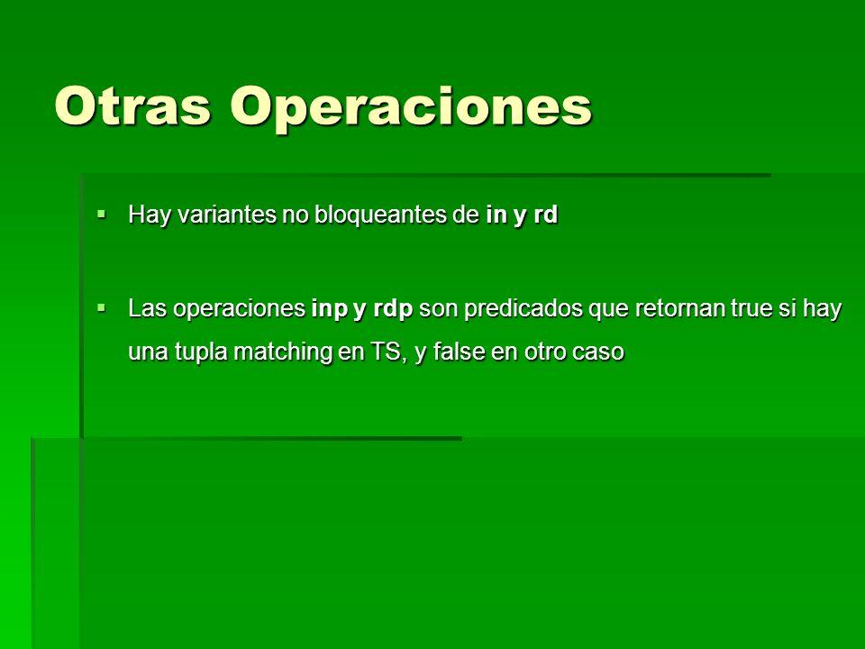 Otras Operaciones Hay variantes no bloqueantes de in y rd