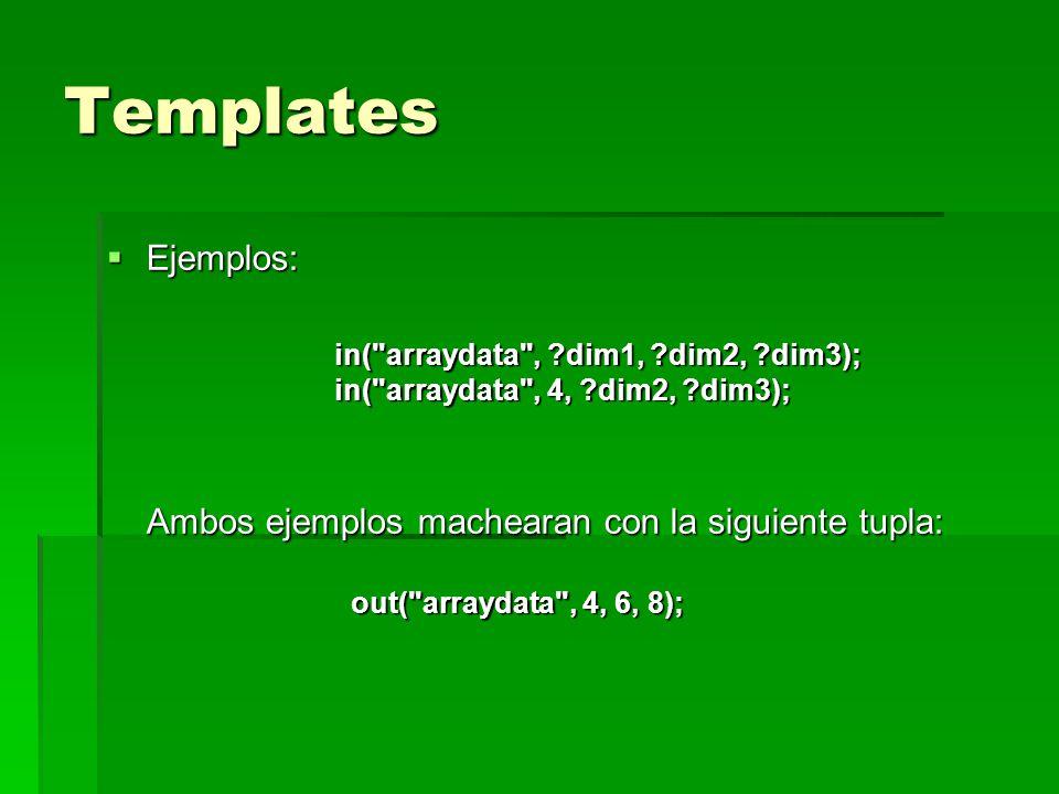 Templates Ejemplos: in( arraydata , dim1, dim2, dim3); in( arraydata , 4, dim2, dim3); Ambos ejemplos machearan con la siguiente tupla: