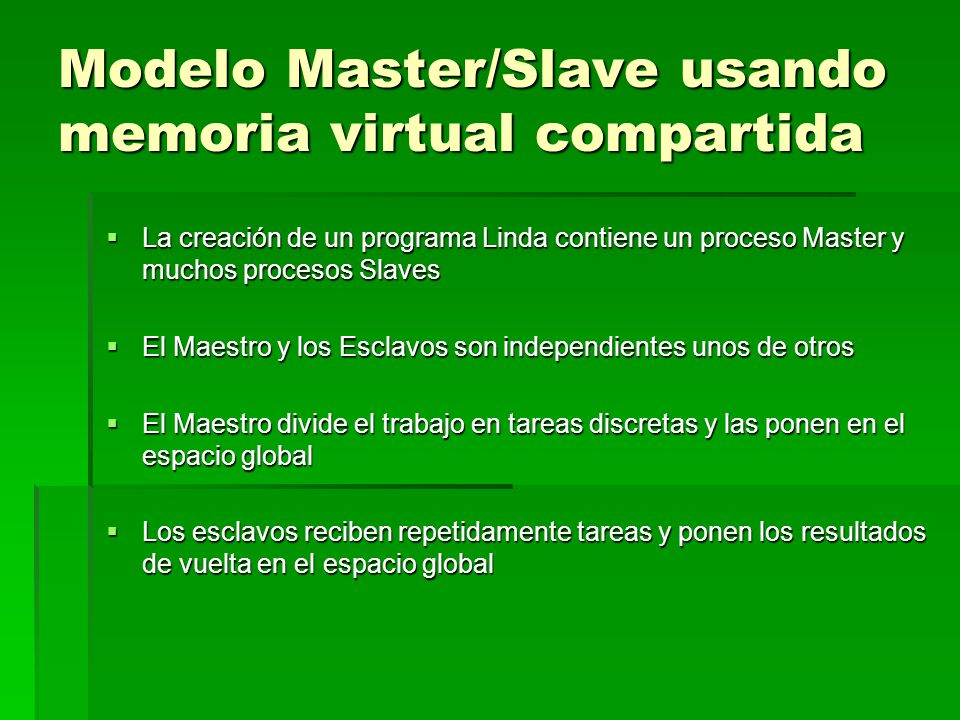 Modelo Master/Slave usando memoria virtual compartida