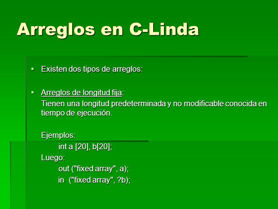 Arreglos en C-Linda Existen dos tipos de arreglos: